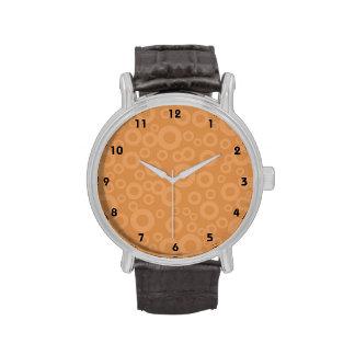 Retro Burnt Orange Circles Pattern Wrist Watches