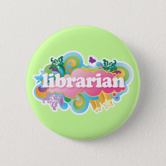 Retro Burst Colourful Librarian Gift 6 Cm Round
