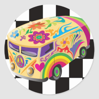 Retro Bus Classic Round Sticker