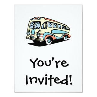 retro bus motor coach 11 cm x 14 cm invitation card