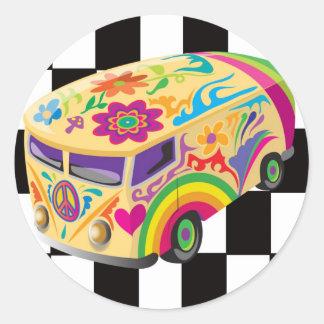 Retro Bus Round Sticker