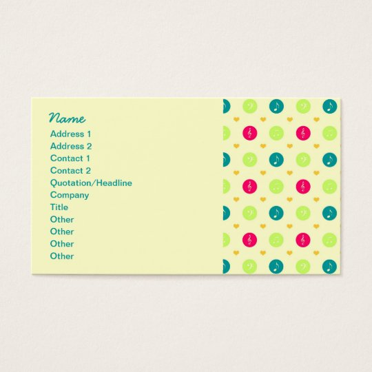 Retro Business Candy Music Notes Pattern Business Card