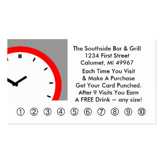 Retro Business Punch Cards Any business clock face Business Card Template