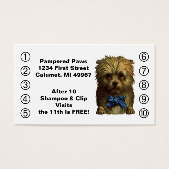 Retro Business Punch Cards Pet Puppy Dog Grooming