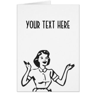 Retro Busy Housewife Greeting Card