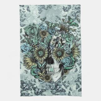 Retro butterfly rose skull tea towel