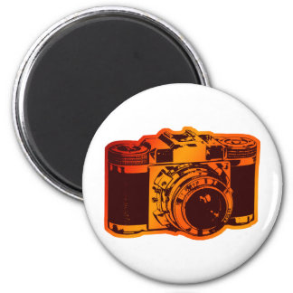 retro camera 6 cm round magnet