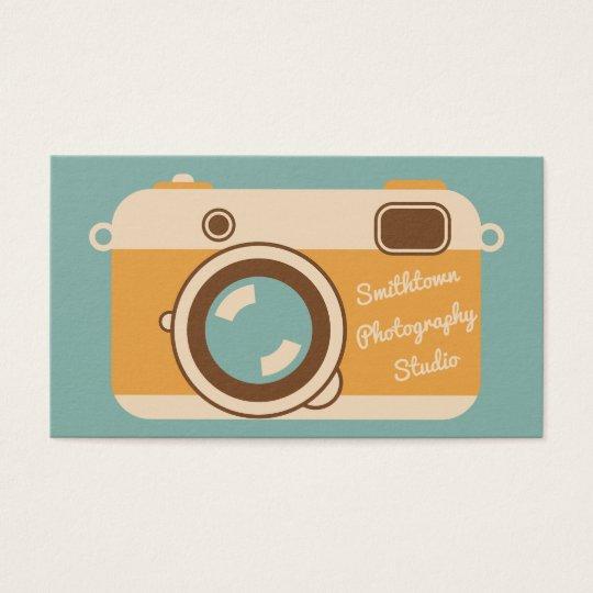 Retro Camera Photography Business Card Aqua Gold