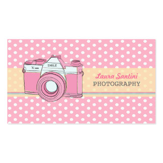 Retro Camera Photography Polka Dot Business Cards