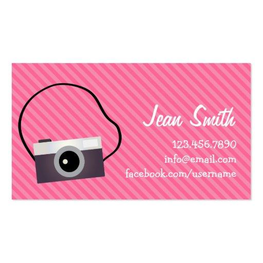 Retro Camera Pink Stripes Profile Card Business Cards