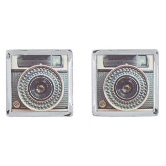 Retro camera silver finish cuff links
