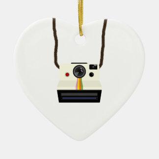 retro camera with strap ceramic heart decoration