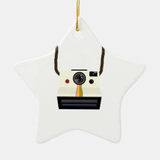 retro camera with strap ceramic star decoration