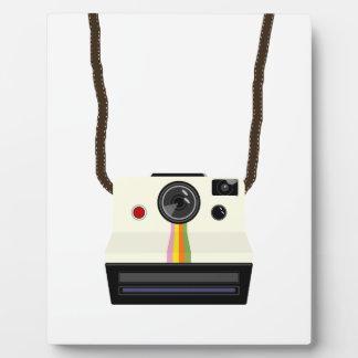 retro camera with strap plaque