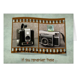 retro cameras in filmstrip card