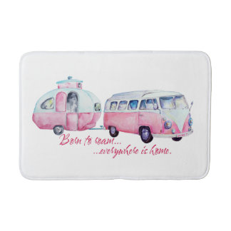 Retro Camper Caravan and Van Bath Mat