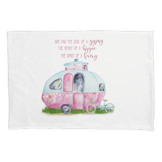 Retro Camper Caravan Pink and White Pillow Case