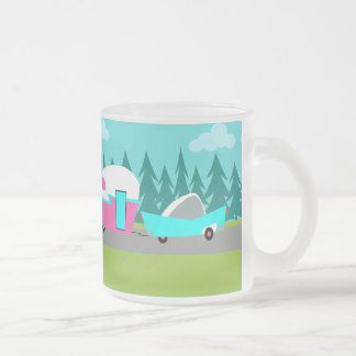 Retro Camper / Trailer and Car Frosted Glass Mug