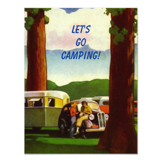 Retro CAMPING RALLY Vintage Campers Invitation