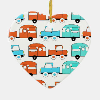Retro Camping Trailer Turquoise Orange Vintage Car Christmas Ornament