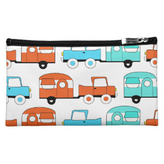 Retro Camping Trailer Turquoise Orange Vintage Car Cosmetic Bag