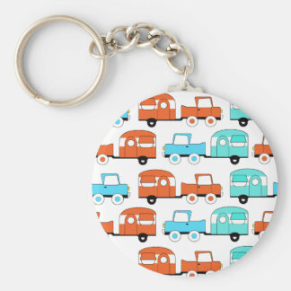 Retro Camping Trailer Turquoise Orange Vintage Car Key Ring
