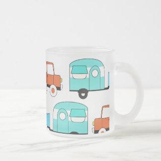 Retro Camping Trailer Turquoise Orange Vintage Car 10 Oz Frosted Glass Coffee Mug