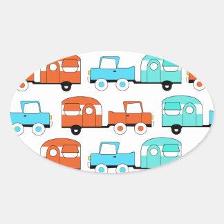 Retro Camping Trailer Turquoise Orange Vintage Car Stickers