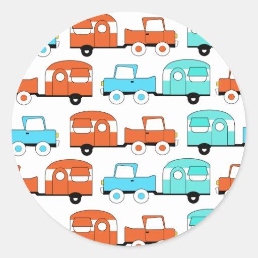 Retro Camping Trailer Turquoise Orange Vintage Car Sticker