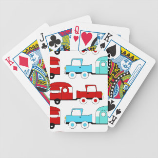 Retro Camping Trailer Turquoise Red Vintage Cars Bicycle Playing Cards