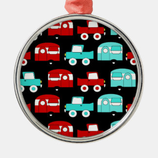 Retro Camping Trailer Turquoise Red Vintage Cars Christmas Ornament