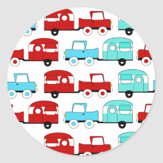 Retro Camping Trailer Turquoise Red Vintage Cars Classic Round Sticker