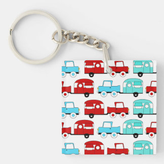 Retro Camping Trailer Turquoise Red Vintage Cars Key Ring