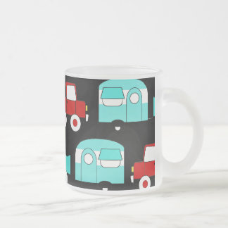 Retro Camping Trailer Turquoise Red Vintage Cars Frosted Glass Mug