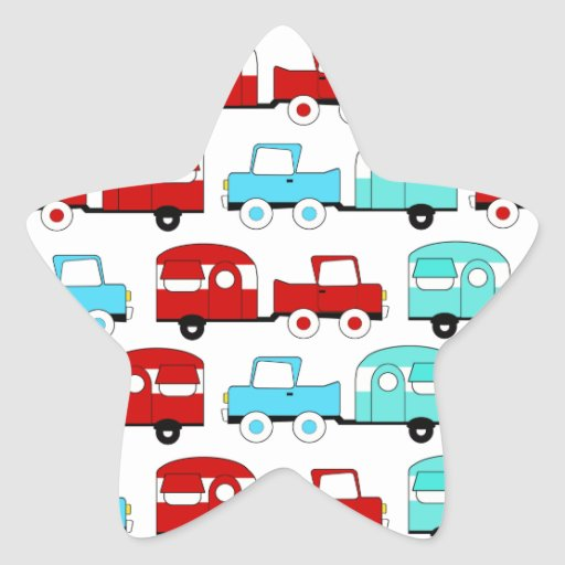Retro Camping Trailer Turquoise Red Vintage Cars Star Stickers