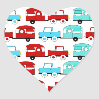 Retro Camping Trailer Turquoise Red Vintage Cars Heart Stickers