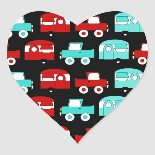 Retro Camping Trailer Turquoise Red Vintage Cars Heart Sticker
