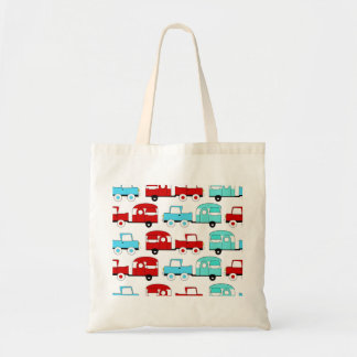 Retro Camping Trailer Turquoise Red Vintage Cars Tote Bag