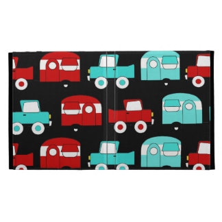 Retro Camping Trailer Turquoise Red Vintage RV iPad Case