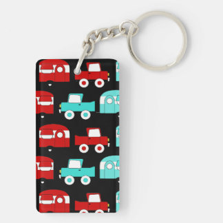 Retro Camping Trailer Turquoise Red Vintage RV Key Ring