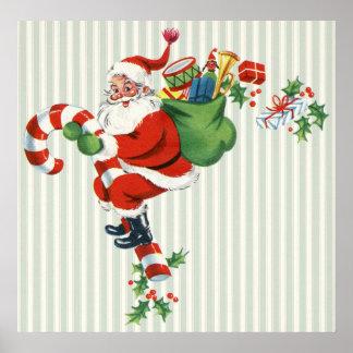 retro candy cane santa poster