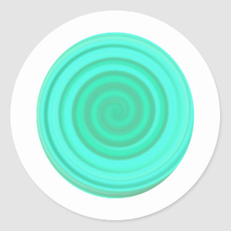 Retro Candy Swirl in Baby Blue Round Sticker