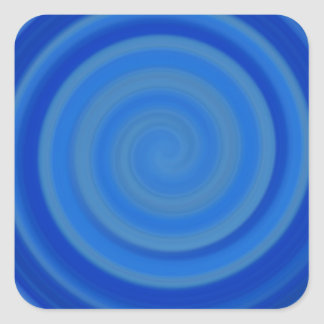 Retro Candy Swirl in Blueberry Blue Square Sticker