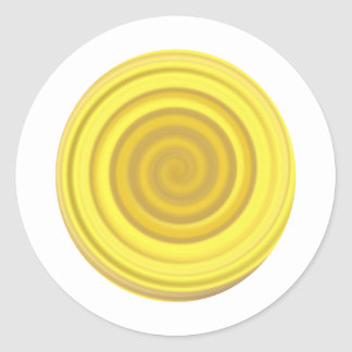 Retro Candy Swirl in Butterscotch Yellow Round Sticker