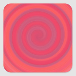 Retro Candy Swirl in Cherry Pink Square Sticker