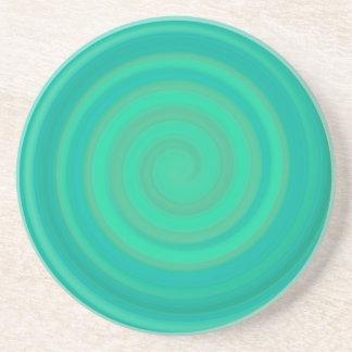 Retro Candy Swirl in Kiwi Teal Beverage Coasters