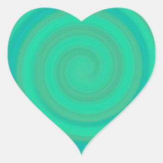 Retro Candy Swirl in Kiwi Teal Heart Sticker