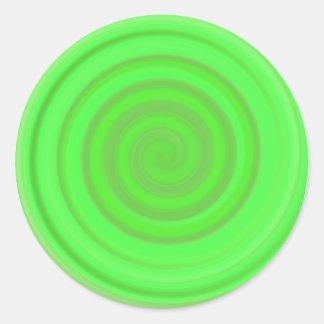 Retro Candy Swirl in Lime Green Round Sticker