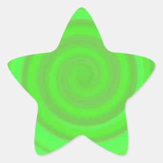 Retro Candy Swirl in Lime Green Star Sticker