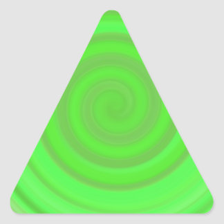 Retro Candy Swirl in Lime Green Triangle Sticker
